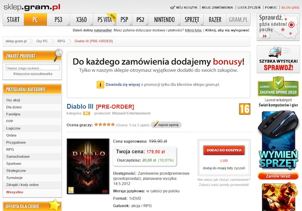 Pre-order w gram.pl